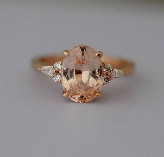 Apricot Sapphire Engagement Ring Peach Sapphire 3 24ct Oval