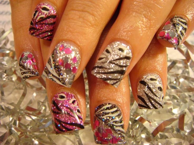 zebra sparkles nail design