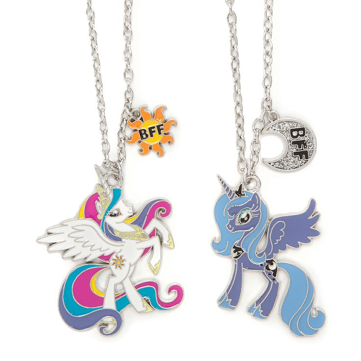 My Little Pony Princess Celestia and Princess Luna Pendant Necklaces | Claire's