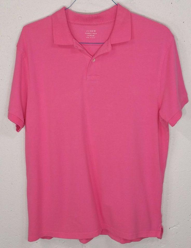 J Crew Mens Pink Pique 100% Cotton Short Sleeve Classic Polo Shirt Large L #JCrew #PoloRugby