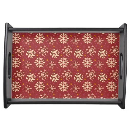Red & White Snowflake Pattern Serving Tray. Designed by Kristy Kate www.kristykate.com.