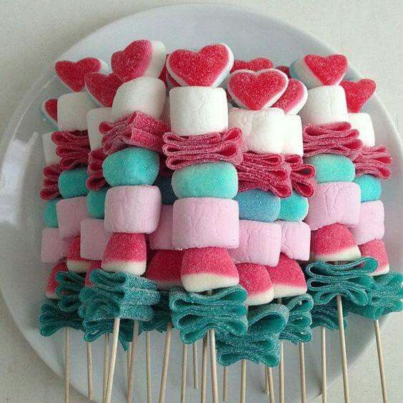 Use lemon wedge gummies in place of white marshmallows - use for luau party goodie bag - wrap them in plastic to stay fresh - color palate is turquoise, pink, and yellow.