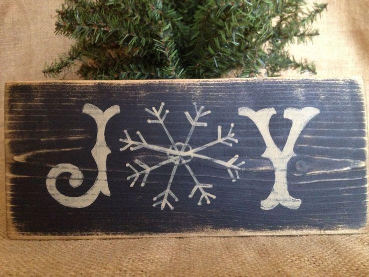 Primitive Country Joy Snowflake Holiday Christmas 3.5x8 Wood Sign Shelf Sitter #CountrySign #Joy