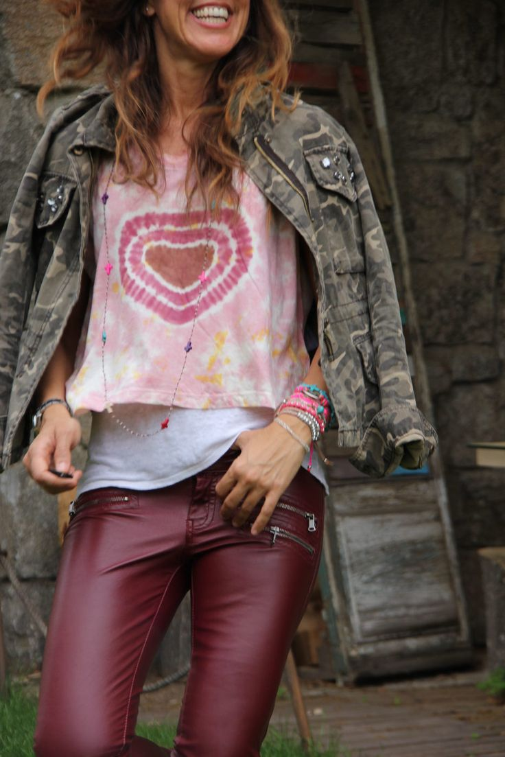 Oxblood Pants & Pink ( Military Jackets & Graphic T-Shirts )