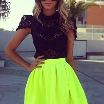 skirt top black top lace top black lace top where to get this top t-shirt lime green neon blouse shirt black blouse sunglasses flurescent yellow fluro pleated skirt neon yellow short skirt lime fashion dress a-line skirt neon skirt yellow summer cotton shirt musthave neon color girly swag flashes of style fluo black outfits summer outfits top color