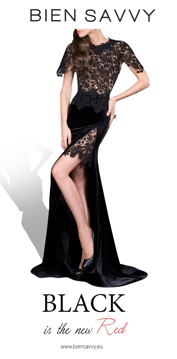 Black is the new Red.  BE UNFORGETTABLE, black lace and velvet evening dress by BIEN SAVVY