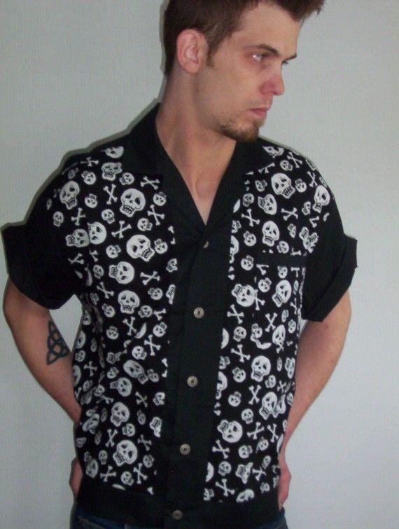 Men's Rockabilly Shirt Jac Skulls by LennyShirts on Etsy, $26.99
