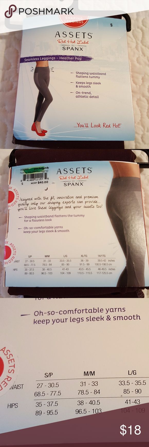 HEATHER POP SHAPING LEGGINGS BY SPANX SIZE S THESE MAKE YOUR LEGS LOOK SLEEK AND SMOOTH AND IT HAS A SHAPING WAISTBAND THAT FLATTENS THE TUMMY.  THE COLOR IS PORT BURGANDY. SPANX Pants Leggings
