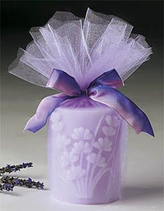 For The Love Of Lavender :  wedding favors new york Candle  embossed candle wrapped in tulle