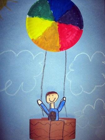 Very cute colour wheel hot air balloon idea.