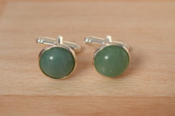 Green Aventurine Cufflink  Gemstone Cuff Link by SkadiJewelry  These cuff links have light green genuine aventurine in a silver plated cuff link settings. Cuff links are nickel and lead free.