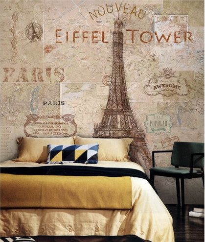 Eiffel tower wallpaper vintage watercolor wall mural by for Antique wallpaper mural