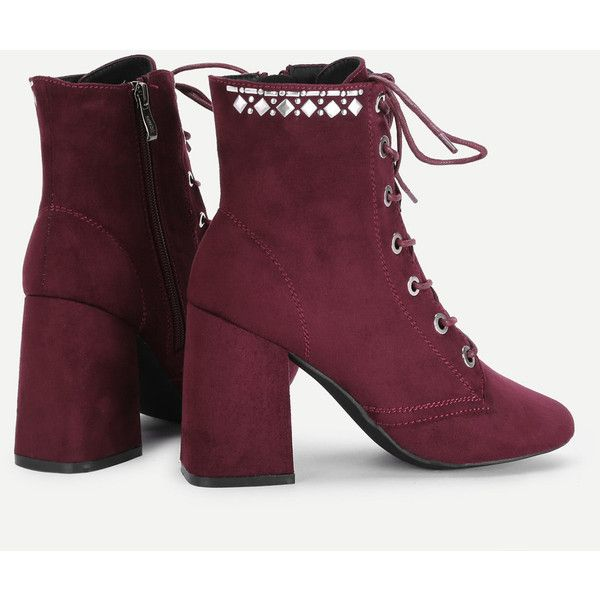 Eyelet Lace Up Block Heeled Ankle Boots ❤ liked on Polyvore featuring shoes, boots, ankle booties, ankle bootie boots, bootie boots, block heel bootie, block heel ankle boots and block heel boots