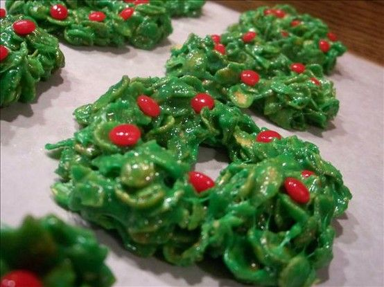 One of my favorite recipes for christmas! Cornflake Christmas Wreathes mmm mm good.