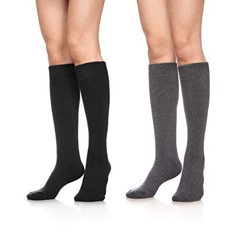 154bdc140a1 Womens Soft Thick Warm Cotton Crew Dress Cold Weather Black Grey Socks 2  Pairs  fashion