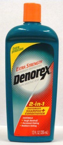 Denorex Extra Strength Dandruff Protection 2-in-1 Dandruff Shampoo + Conditioner, Extra Protection, 12 Oz (Pack of 4) by Denorex. $29.38. Denorex Extra Strength Dandruff Protection 2-in-1 Shampoo + Conditioner treats stubborn dandruff and serious scalp conditions. The tingle tells you it's working, and Denorex leaves your scalp feeling fresh and clean. Fight severe dandruff, psoriasis and seborrheic dermatitis. Vitamin-enriched for healthy, good looking hair. Bu...