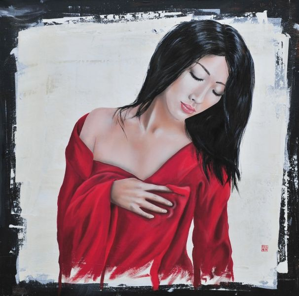 Pure acryl on linen 100*100 cm  #pure #beauty #asianwoman #red