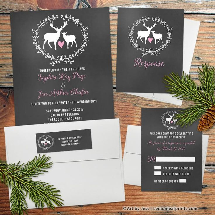 Whimsical chalkboard deer floral wedding invitation, reply card, and mailing labels. Cute for a woodsy, woodland, forest, or rustic wedding. Pink, white, and chalkboard black.   Design by @artbyjess  Shop for it here: https://lemonleafprints.com/deer-buck-and-doe-chalkboard-wedding-invitations.html