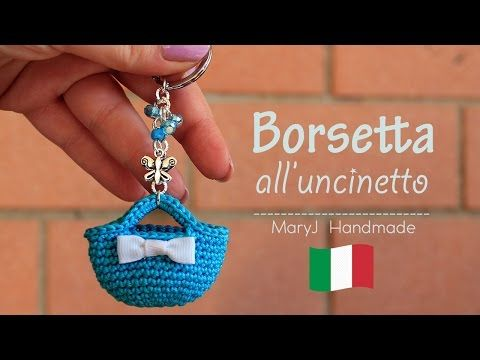 Mini borsa all'uncinetto | portachiavi - YouTube