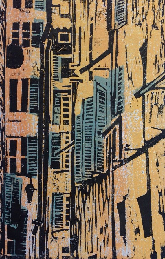 Original+art++Woodcut+print+Apartment+Buildings.+by+SandraHaneyArt,+£45.00