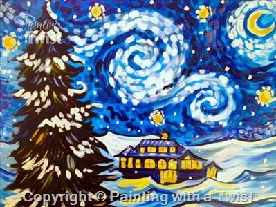 Snowy Starry Night - Pittsburgh, PA - West Painting Class - Painting with a Twist