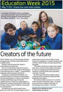 Bec Spink, one of our co-founders works for the Victorian Department of Education and Training and was featured in a local newspaper celebrating education week. Check out the article–