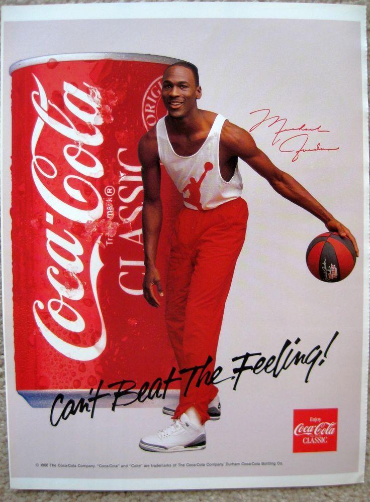 Michael Jordan BULLS NIKE 88COKE POSTER AD BASKETBALL Card Program VTG Rare 1984