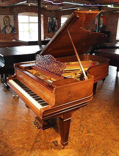 A 1907, Steinway Model B grand piano for sale with a rosewood case, filigree music desk and spade legs at Besbrode Pianos.Piano has an eighty-eight note keyboard and a three-pedal lyre.