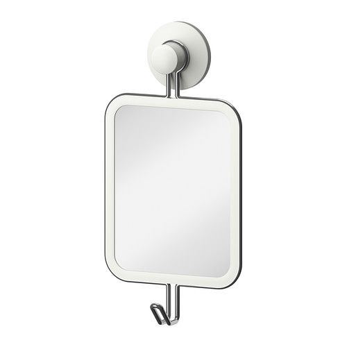 IMMELN Mirror with hook IKEA With a suction cup that grips smooth surfaces. Made of zinc-plated steel which is durable and rust resistant.