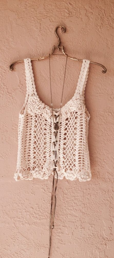 Jens Pirate Booty Beach Boho camisole hand crochet with leather drawstrings