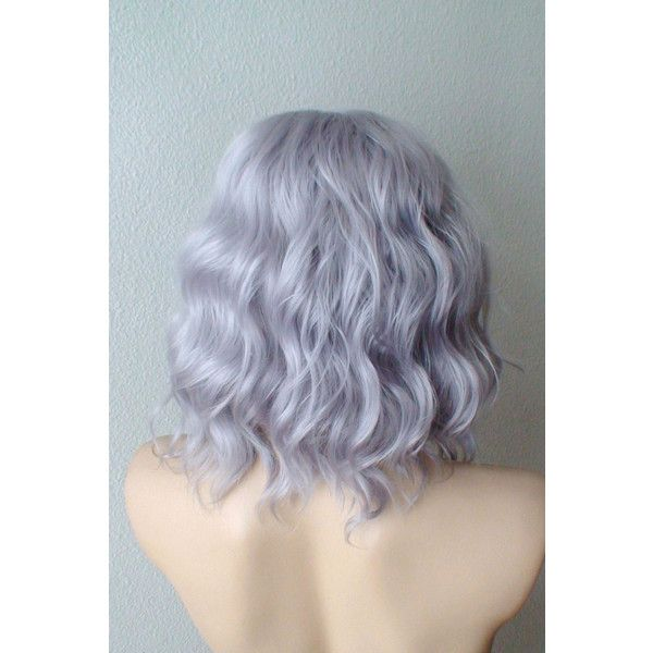 Silver wig. Lavender silver Short Beach wavy hairstyle wig. Durable... (£59) ❤ liked on Polyvore featuring beauty products, haircare, hair styling tools, hair, hairstyles, wig and silver hair care
