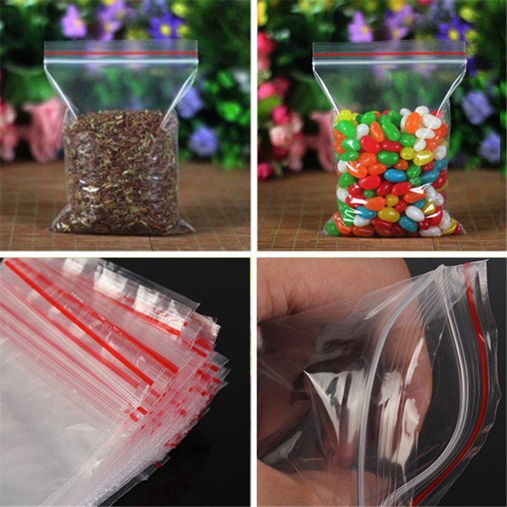 100 pcs Baggy Batal Tas Plastik Grip Seal Diri Ditutup Kembali Reclosable Zip Tas Kunci Untuk Penyimpanan Serba-serbi Rumah