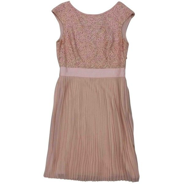 Pre-owned Ted Baker Mid-Length Dress (£155) ❤ liked on Polyvore featuring dresses, pink, women clothing dresses, pre owned dresses, brown dresses, ted baker dresses, brown pink dresses and mid length dresses