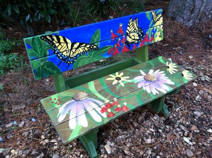 handpainted garden bench - Google Search