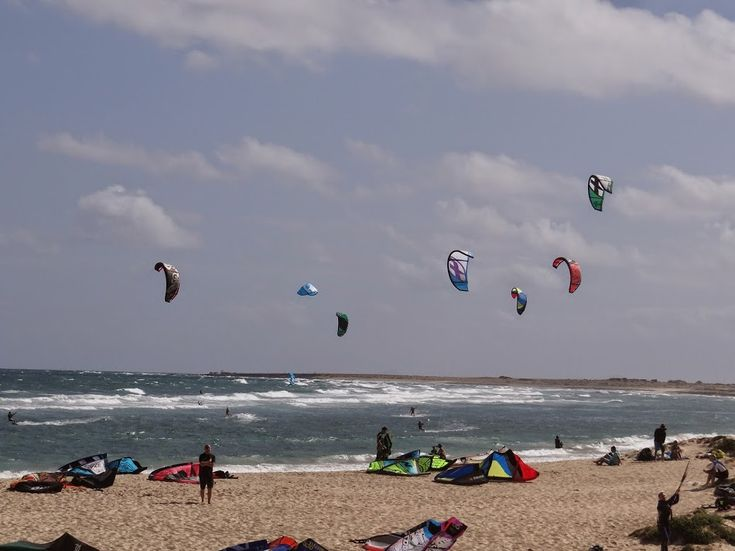 Kite surfers' beach in Sal, Cape Verde