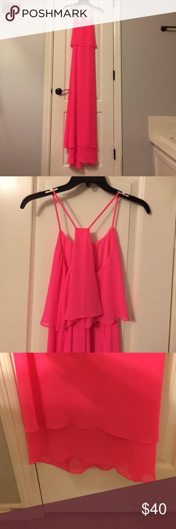 Gianni Bini bright pink long dress Gianni Bini bright pink long dress. Layered at the bottom. Only worn once! Gianni Bini Dresses
