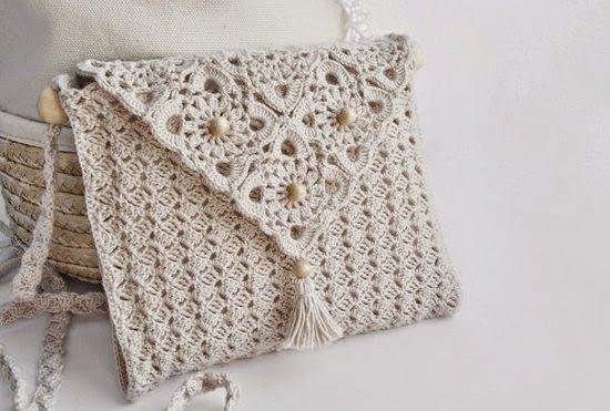 Crochet y dos agujas: Cartera elegante tejida con ganchillo - con diagramas