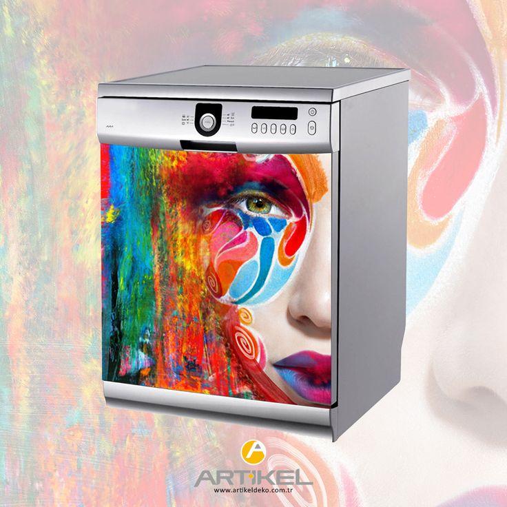 """""""Maskeli Kız"""" Bulaşık Makinesi Sticker ile mutfağınız renklensin.. #beyazeşyasticker #dekorasyonfikirleri #art"""