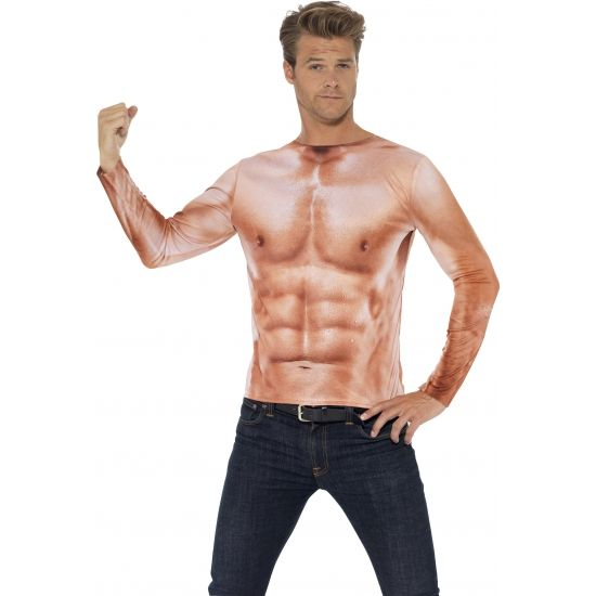 Spieren t-shirt voor mannen  Gespierde man T-shirt voor heren. T-Shirt voor volwassenen met lange mouwen op het shirt is een gespierde man afgebeeld.  EUR 26.95  Meer informatie