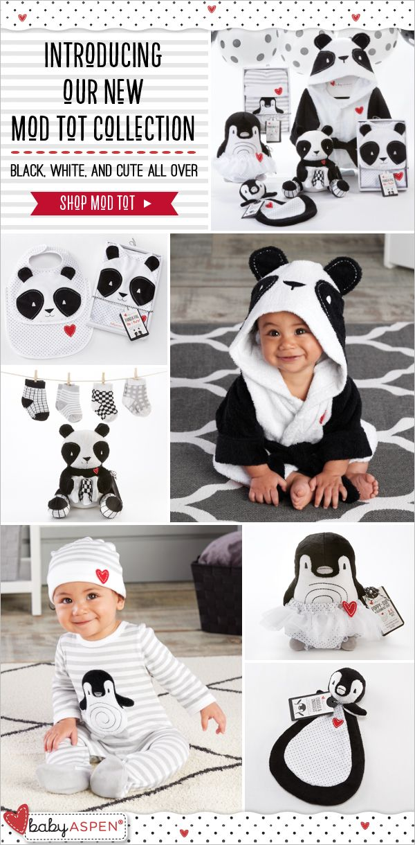 Black, white and cute all over! Cuddly pandas and penguins are the inspiration behind these mod gifts baby will love.