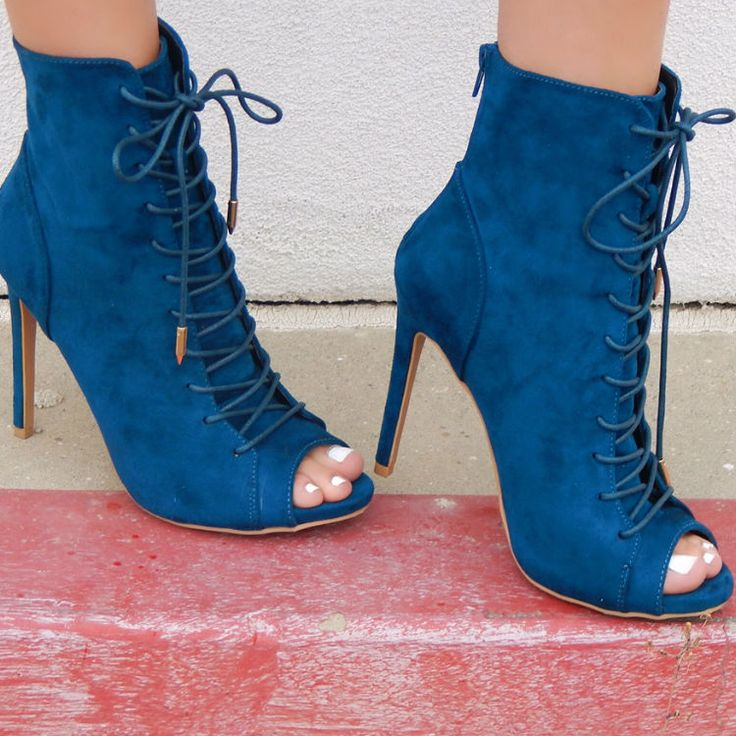 Lace Up Peep Toe Stiletto Booties