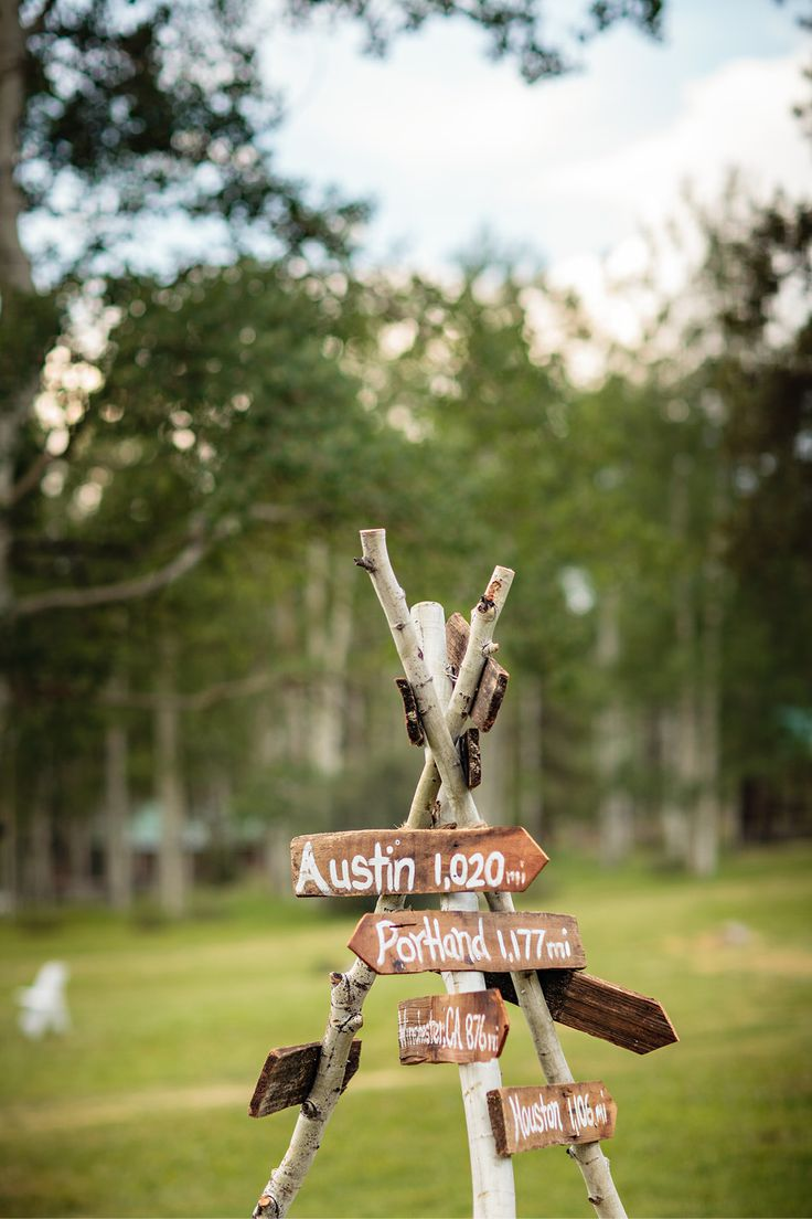 Wedding sign with distances everyone drove to get there + direction to wedding :) great find from @kali!!!