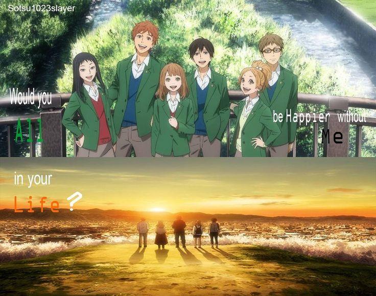 Orange, friends, sunset, would you all be happier without me?, Kakeru, Naho, Suwa, Hagita, Azu, Takako