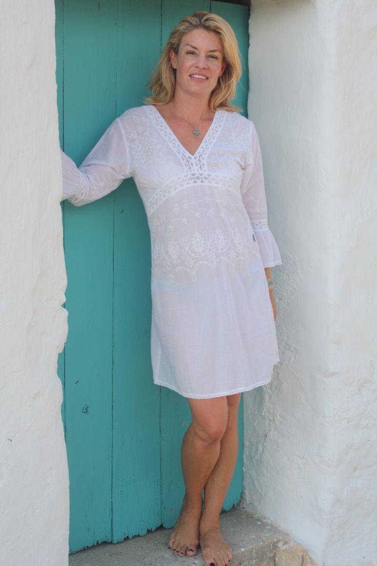 Ibiza style short white boho cotton summer dress by ibizawhite on Etsy