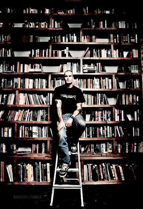 Henry Rollins's bookshelf.  Swoon for the man and his collection.