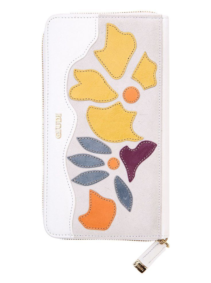 Salina-Zip Clutch Wallet-White Flowers. 100% Made in Italy from vegetable dyed leather.