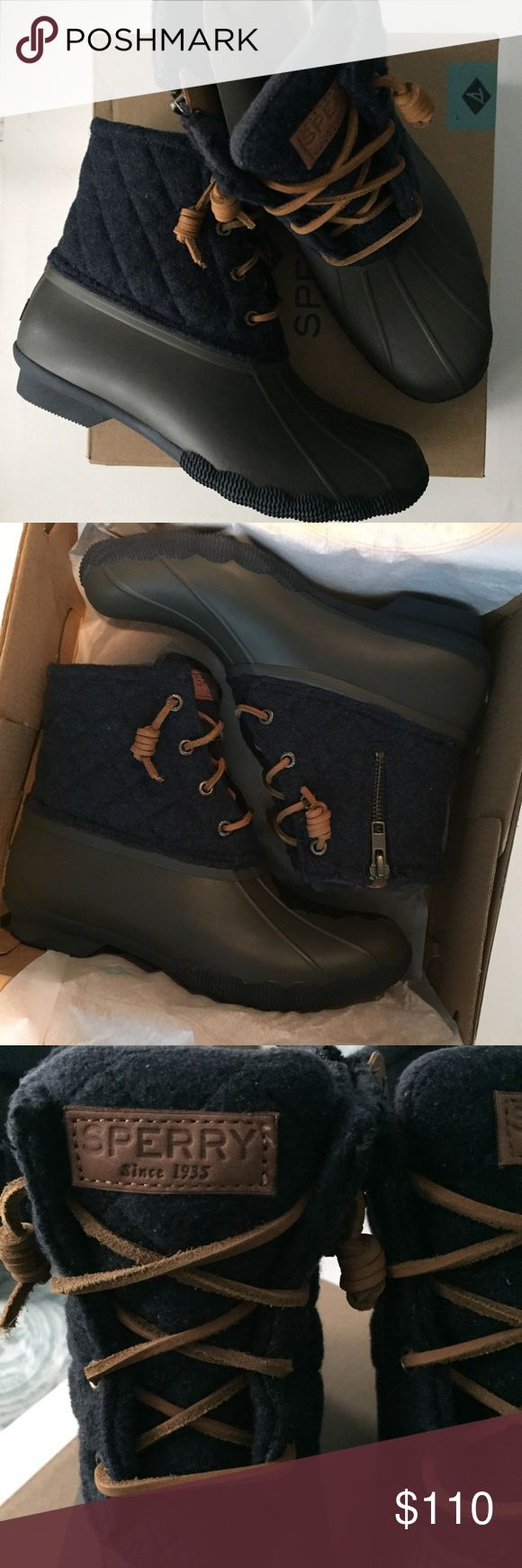 Sperry Duck Boots • 7 New in box! - size: 7 - Sperry Women's Saltwater Quited Wool Duck Boots - Tobacco/navy See something else you like? Bundle & Save! 🛍 Sperry Shoes Winter & Rain Boots