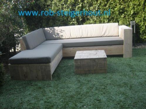 Steigerhout loungebank. Mooie robuuste bank in iedere maat. Zeer mooi voor in de tuin om lekker op te genieten in de zon.