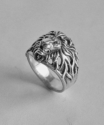 lion head silver ring