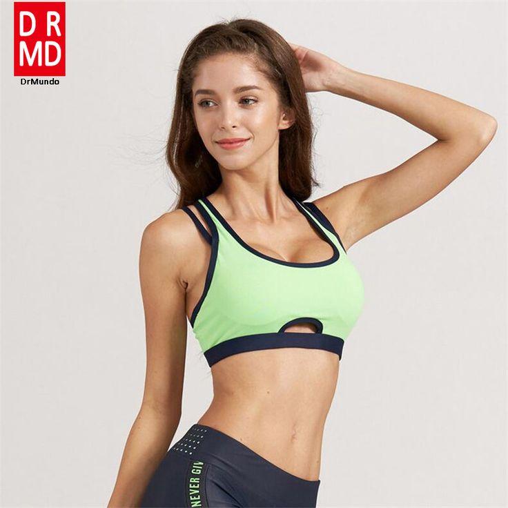 Women sportswear yoga Sports Bra brassiere Fitness running Gym Vest Seamless Sexy Underwear blue green nylon XS-L